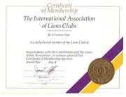 Document – certificate of the membership of Lions Club Ljubljana in the Lions Clubs International